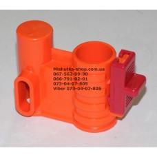 Осевой блок переднего колеса + фиксатор в сборе к коляске Geoby D222, D205, D208, D209 (оранжевый-красный) (28225)