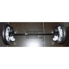 Ось задняя с тормозом и 2-мя колесами в сборе к коляске Geoby SC705 (двойня) (псевдорезина) (28826)