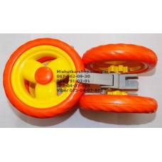 Колесо заднее в сборе к коляске Geoby D208, D205, SD209, D388, D204 и другие (оранж) (145*7) (28850)
