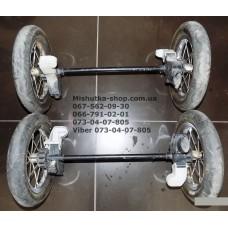 Ось передняя и задняя в сборе с колесами к коляске Geoby C705 б/у цена 300 грн за пару (28921)