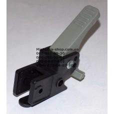 Осевой блок заднего колеса + тормозная педаль к коляске Geoby D208, D205, D209, D388 (черный корпус - серая педаль) (d=16мм, 16*16мм) (29064)