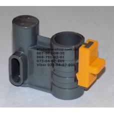 Осевой блок переднего колеса + фиксатор в сборе к коляске Geoby D222, D205, D208, D209 (темно-серый-желтый) (29066)