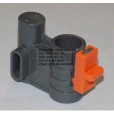 Осевой блок переднего колеса + фиксатор в сборе к коляске Geoby D222, D205, D208, D209 (темно-серый-оранжевый) (29067)