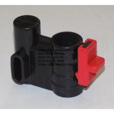 Осевой блок переднего колеса + фиксатор в сборе к коляске Geoby D222, D205, D208, D209 (черный-красный) (29069)