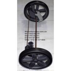 Ось задняя с тормозом и 2-мя колесами в сборе к коляске Geoby С879 - темно-серая (29142)