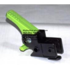 Осевой блок заднего колеса + тормозная педаль к коляске Geoby D208, D205, D209, D388, D222 (черный корпус - зеленая педаль) (d=16мм, 16*16мм) (29148)