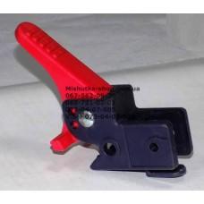 Осевой блок заднего колеса + тормозная педаль к коляске Geoby D208, D205, D209, D388, D222 (темно-синий корпус - красная педаль) (d=16мм, 16*16мм) (29149)