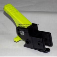 Осевой блок заднего колеса + тормозная педаль к коляске Geoby D208, D205, D209, D388, D222 (черный корпус - салатовая педаль) (d=16мм, 16*16мм) (29151)