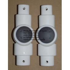 Шарнир 20*30мм-26*36мм, белый корпус - серая кнопка (29438)
