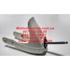 Вилка для детской коляски амортизирующая белая (шток: d=10мм, l=75мм) (29934)