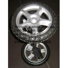 Ось передняя с тормозом и 2-мя колесами в сборе к коляске Geoby C705 (псевдорезина) (290*10) (28491)